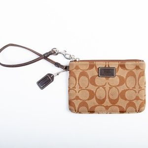 Coach Brown Logo Canvas Coin Purse